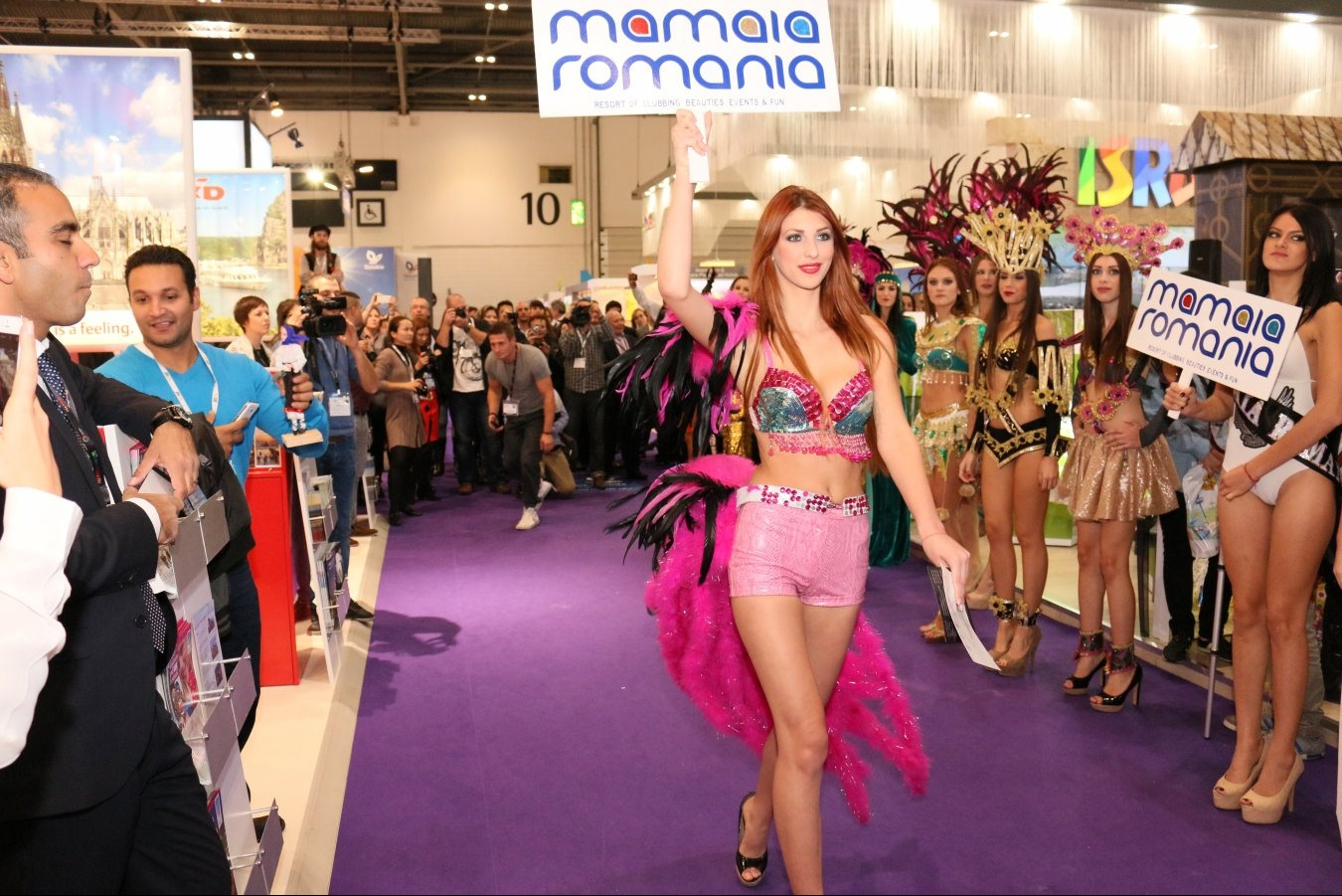 The carnival characters introduced Mamaia at the World Travel Market London 2014