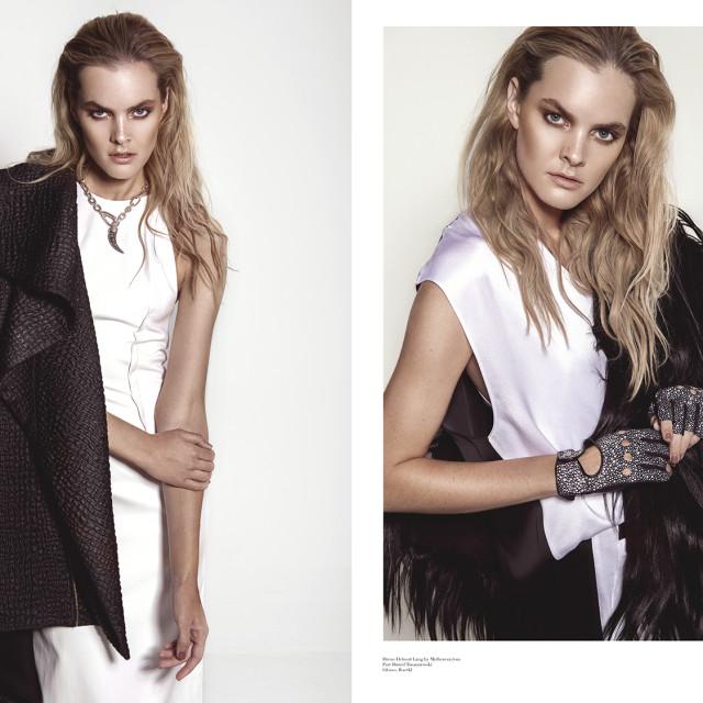 left:  Dress: Lever Couture  Coat: Stefan Eckert  Necklace: Pomellato  Right:  Dress: Helmut Lang by Mytheresa.com  Fur: Dawid Tomaszewski  Gloves: Roeckl