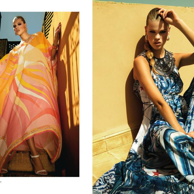 Left: Seidenkaftan mit Paisely-Print: Etro  Schmuck: Patina NY  Sandalen: Kennel & Schmenger Right: Kleid: Manuel Luciano  Ohrringe: Swarovski  Sandalen: Kennel & Schmenger
