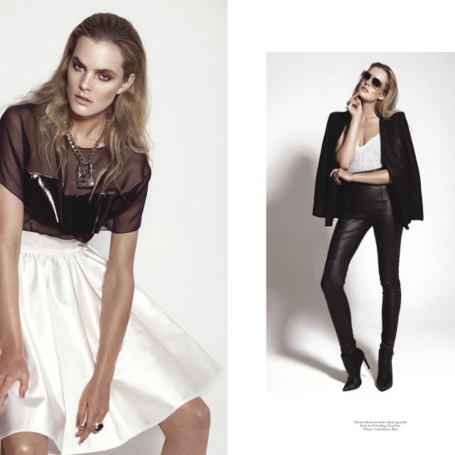 left: Top: Stefan Eckert  Skirt: Marcel Ostertag  Necklace: Chanel  Ring: Pomellato  right:  Trouser: Burberry  Jacket: Karl Lagerfeld  Body: La Perla  Ring: Pomellato  Glasses: Cazal  Shoes: Zara