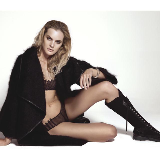 Underwear: La Perla  Coat: Dimitri  Shoes: Chanel  Bracelet: Pomellato