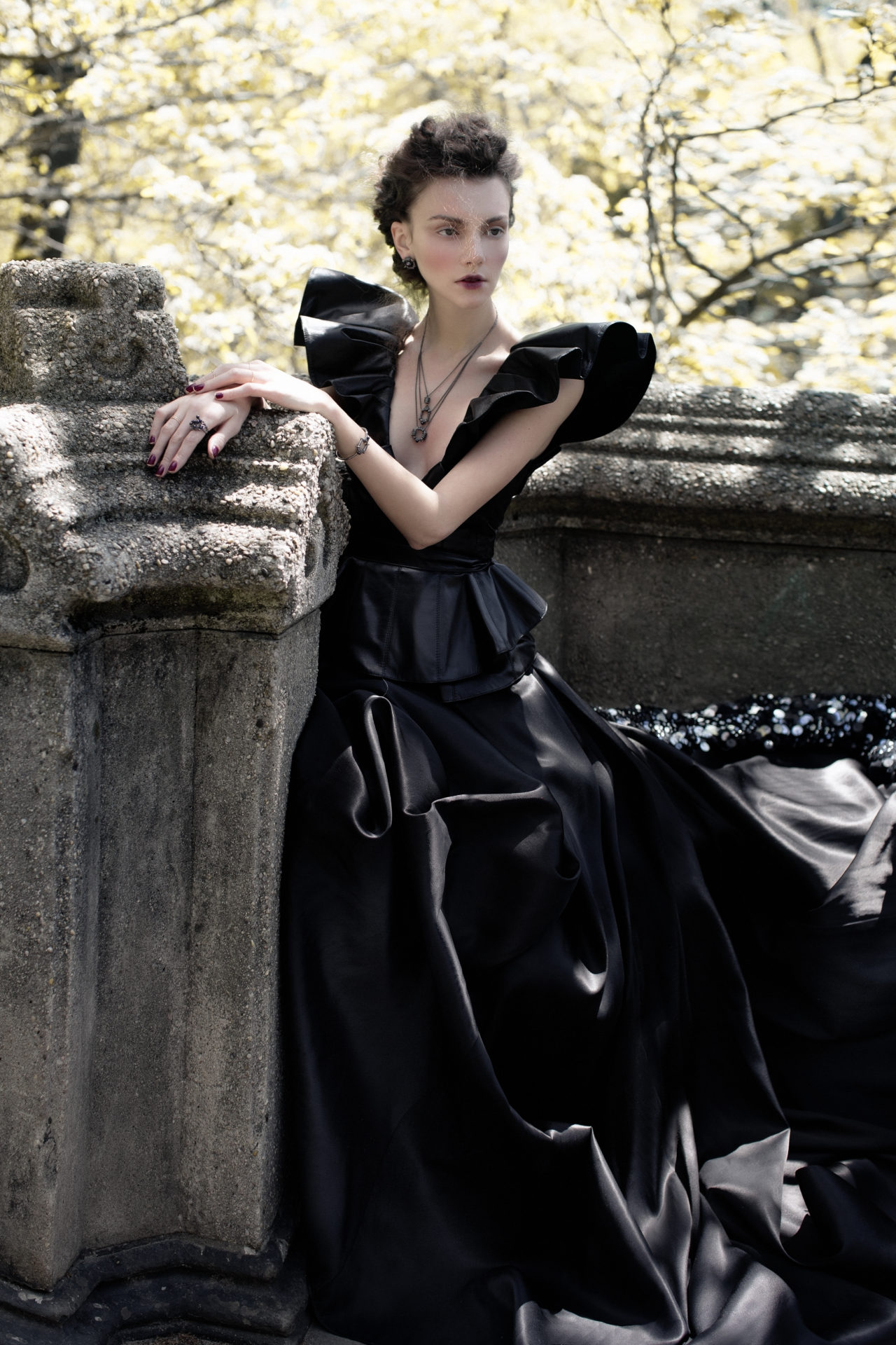 ) Top&leather skirt - Leka. Dress with sequins- Basix. Neckless, earrings, rings, bracelet - Solomeina