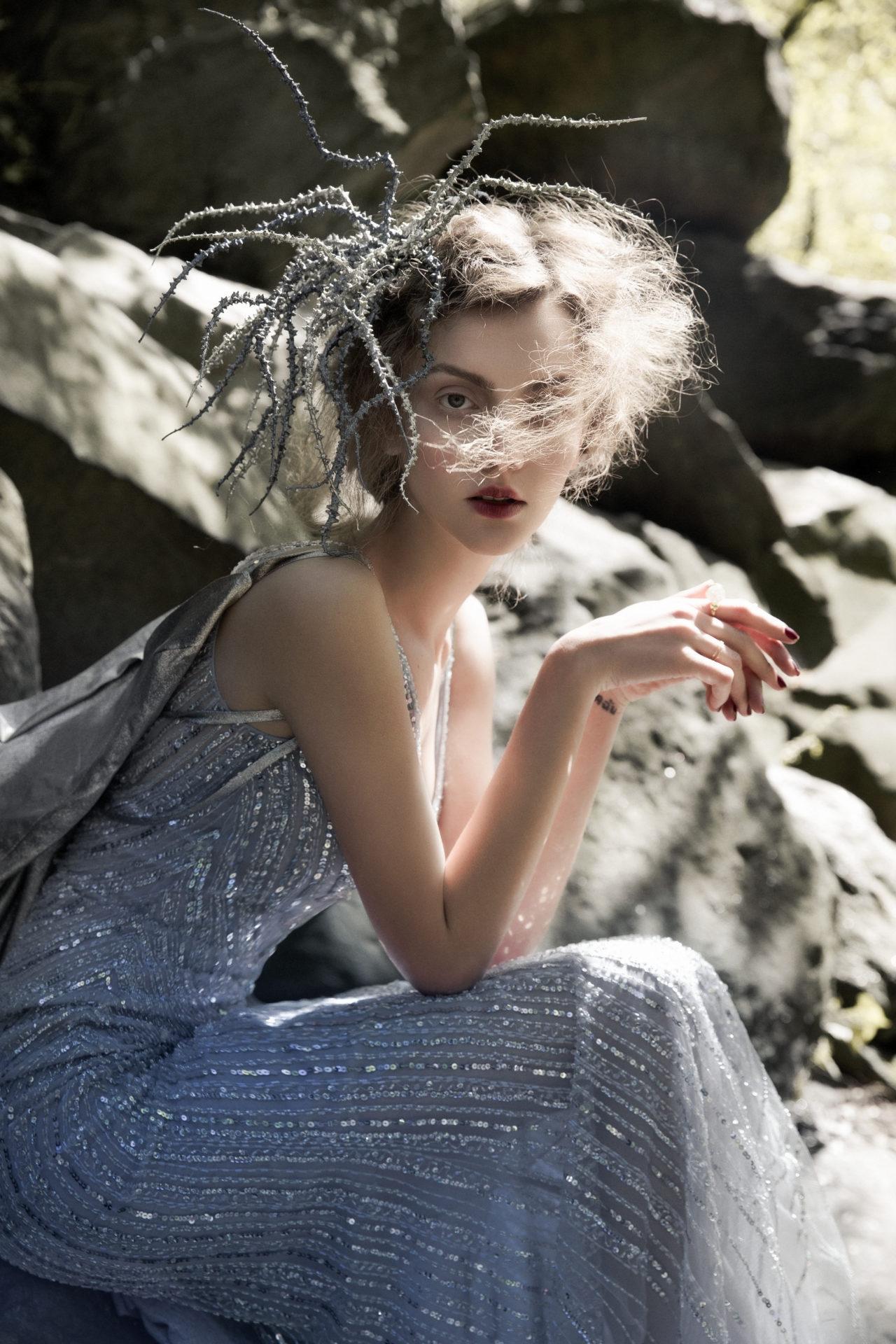 Dress - Basix. Dress on the back - Leka. Headdress - Сhuchu. Ring - Solomeina.
