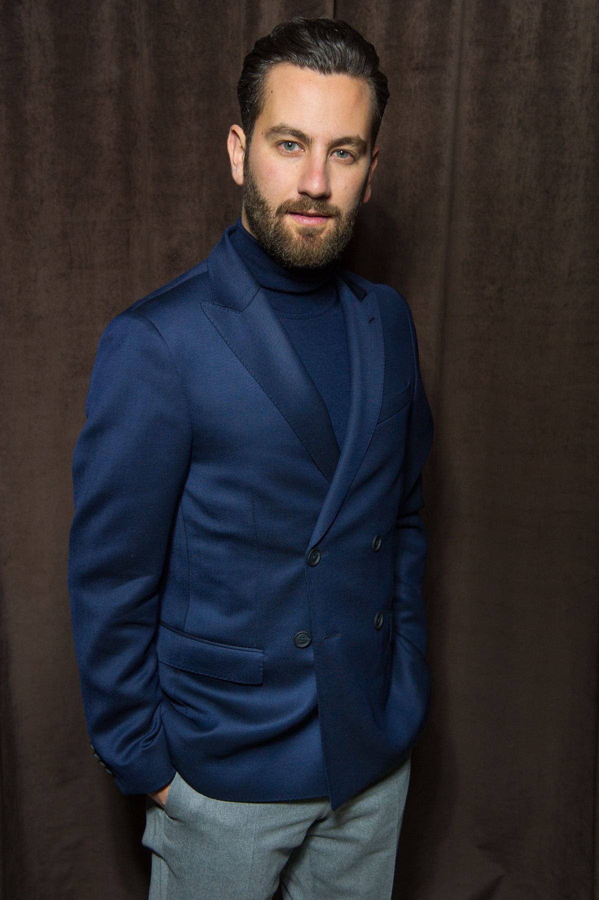 Matthew Zorpas in HUGO BOSS at the BOSS Menswear Fall/Winter 2017 collection presentation