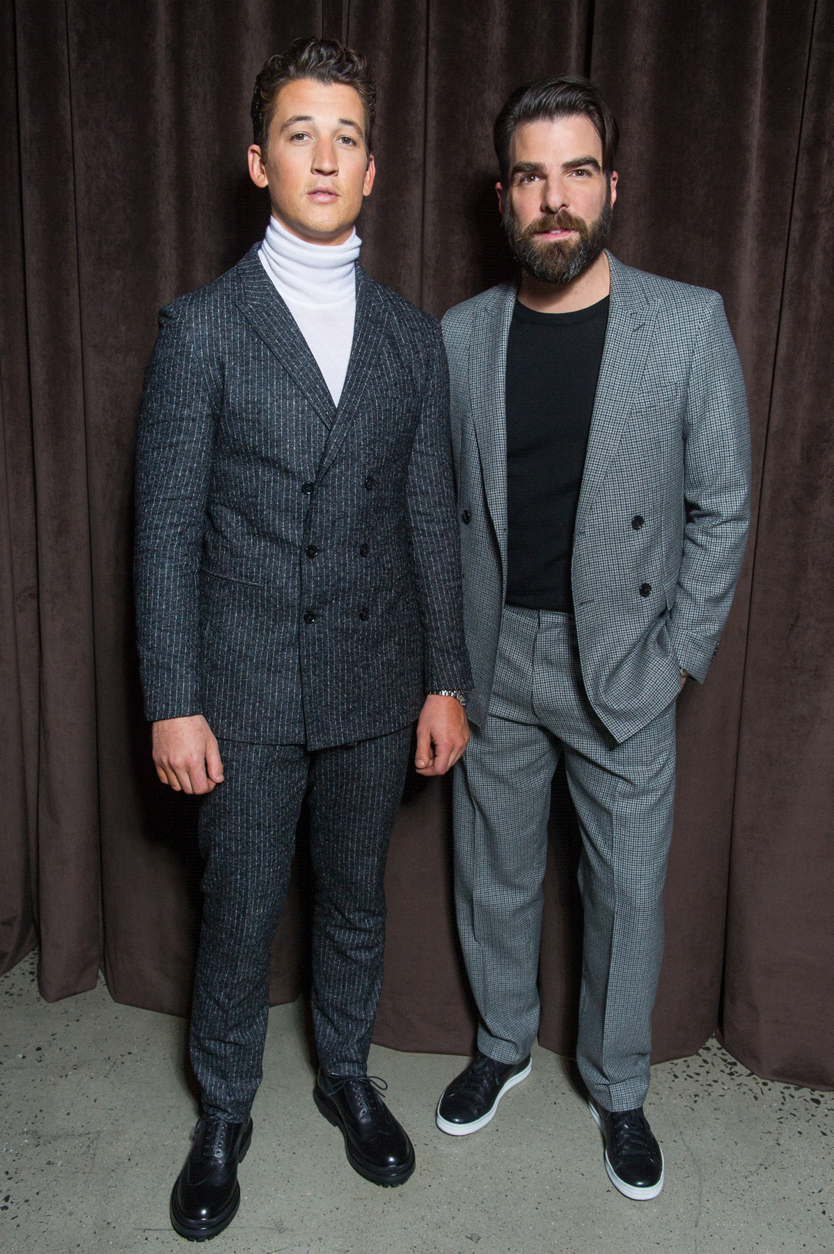 Miles Teller in HUGO BOSS & Zachary Quinto in HUGO BOSS at the BOSS Menswear Fall/Winter 2017 collection presentation