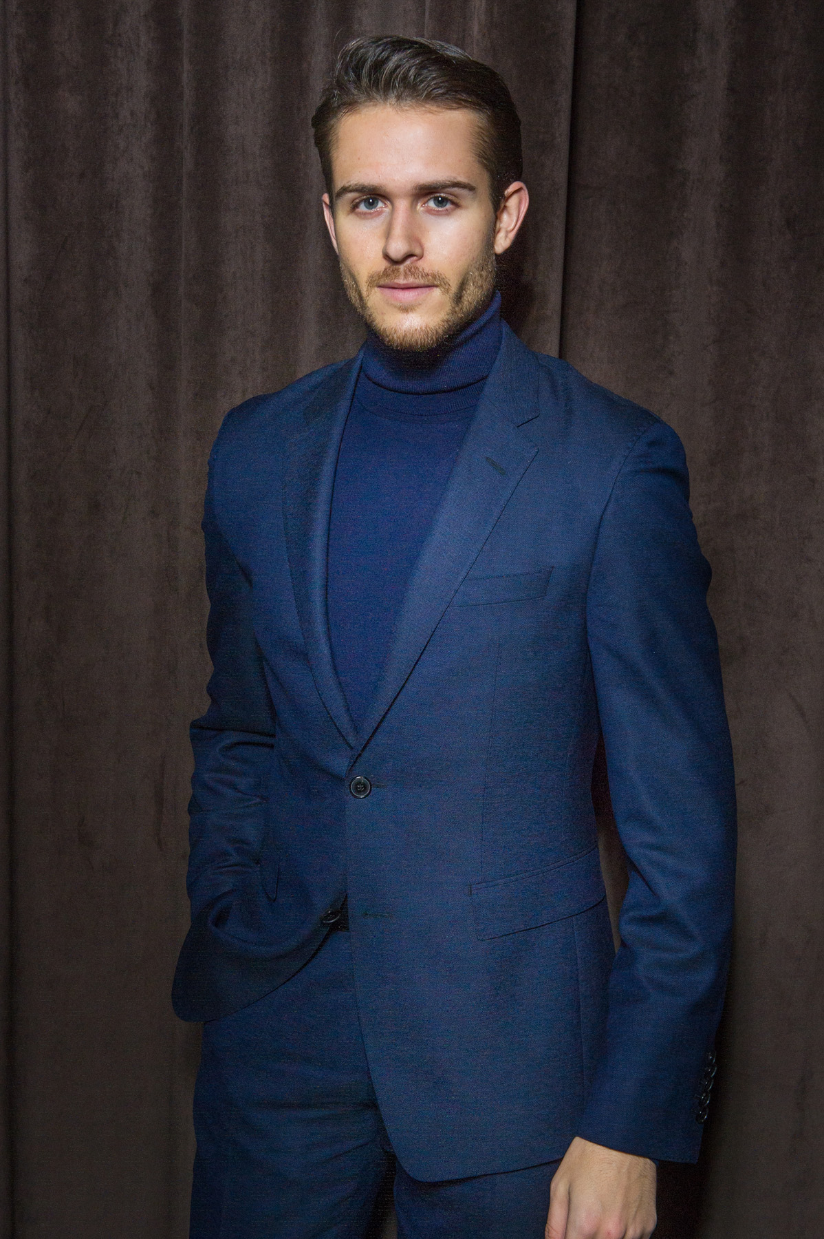 Adam Gallagher in HUGO BOSS at the BOSS Menswear Fall/Winter 2017 collection presentation